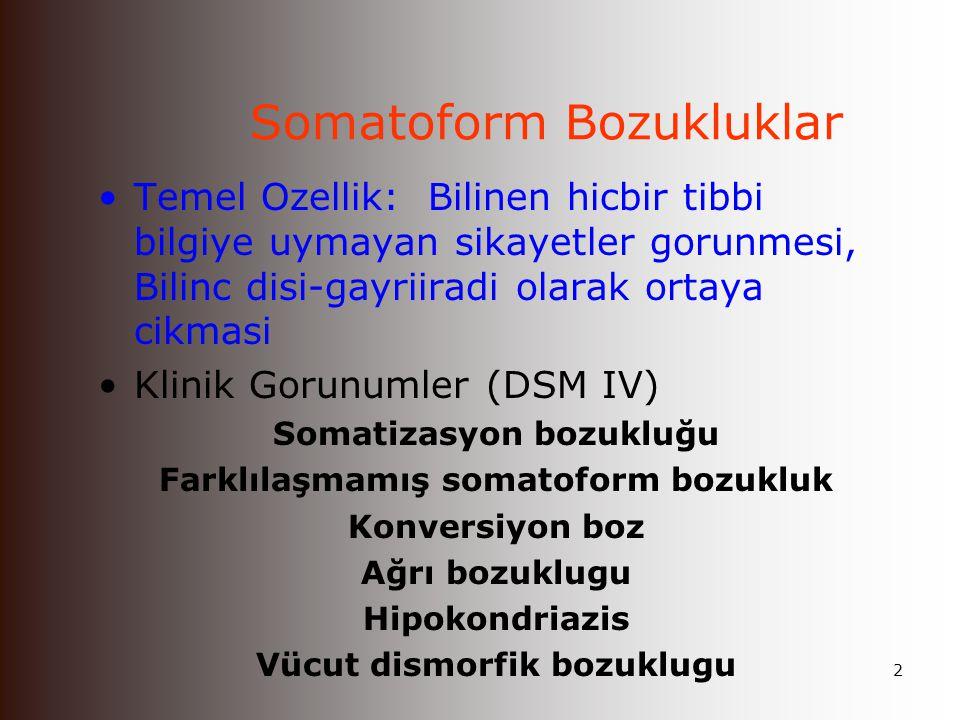 1 Somatoform Bozukluklar & Düzmece Bozukluklar İ.Ü.Cerrahpaşa Tıp Fakültesi Ruh Sağlığı ve Hastalıkları Anabilim Dalı