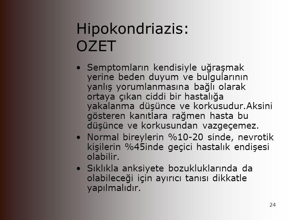 Hipokondriazis: Iliskili Ozellikler Tibbi oyku siklikla ayrintili ve detaylari ile anlatilir Doctor-shopping yaygin olarak gozlenir.