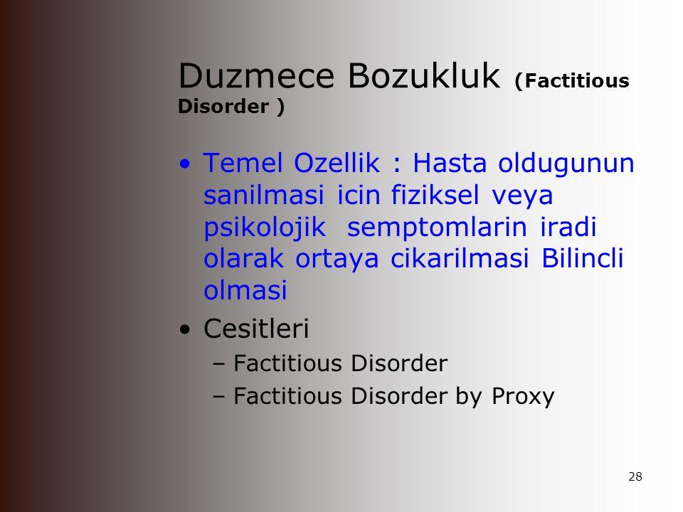 Vucud Dismorfik Bozukluğu : Iliskili Ozellikler Bu yakınmayla sıklıkla başka uzmanlık dallarına başvururlar (plastik cerrahi, KBB, dermatolog vs) Depresyon ve anksiyete bozuklukları sıklıkla tabloya eşlik eder.