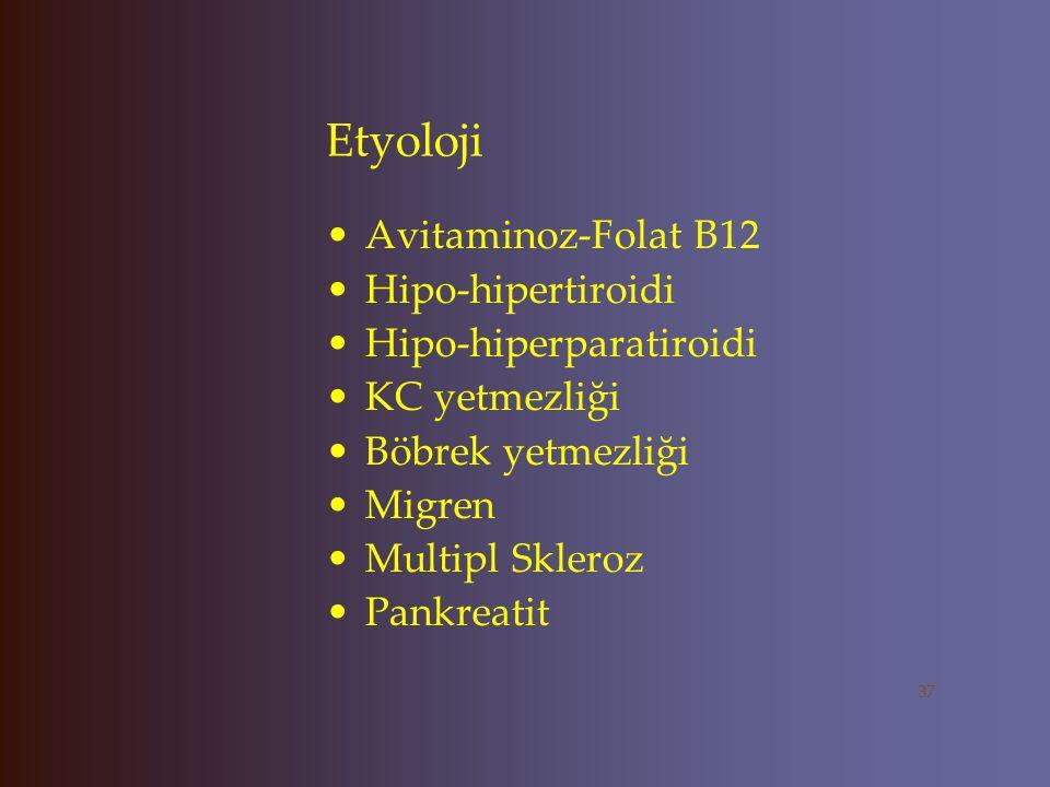 Etyoloji TLE Huntington Hastalığı Wilson hastalığı Addison hastalığı Cushing Serebrovasküler Hastalıklar SSS Tümörleri 36