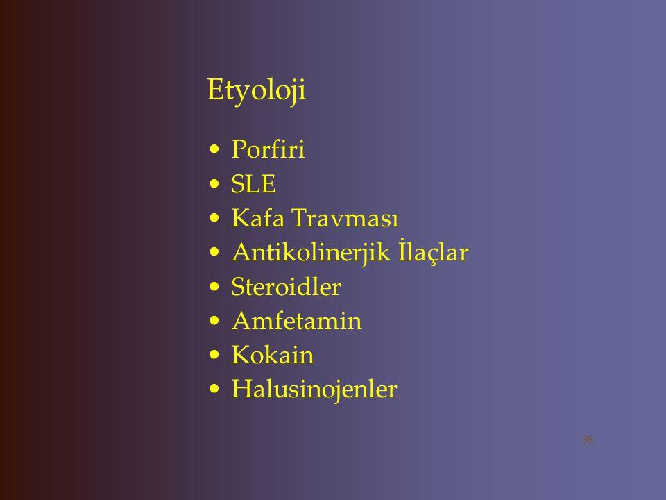 Etyoloji Avitaminoz-Folat B12 Hipo-hipertiroidi Hipo-hiperparatiroidi KC yetmezliği Böbrek yetmezliği Migren Multipl Skleroz Pankreatit 37