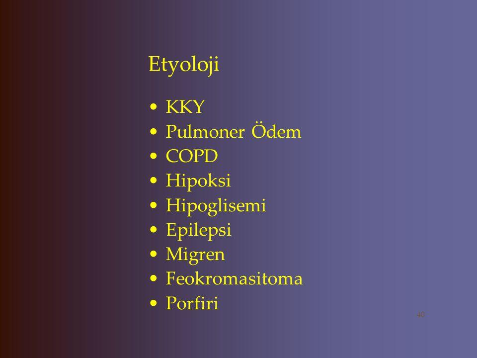 Etyoloji SSS enfeksiyonları Ensefalit Sifiliz Yavaş Virus Enfeksiyonları EMN Ülseratif Kolit Anemi Karsinoid Sendrom 39