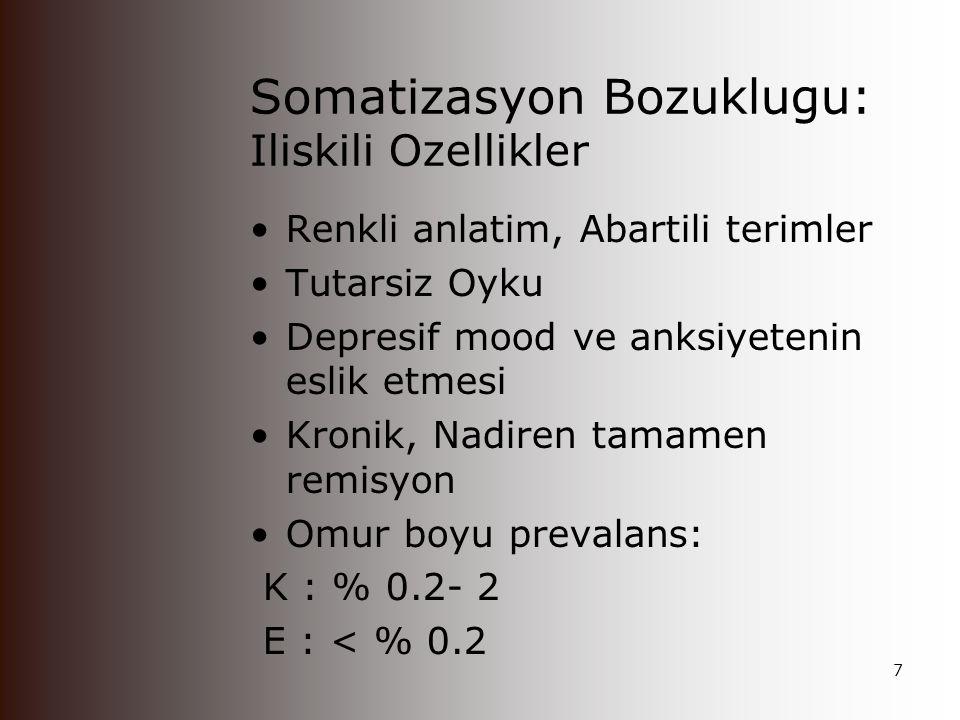 Somatizasyon Bozuklugu: Tanisal Ozellikler Temel Ozellik: Coklu, Aciklanamayan Semptomlar Tani Kriterleri Dört ağrı semptomu İki gastrointestinal semptom Bir cinsel semptom Bir psödonörolojik semptom Tibbi durum olsa bile semptomlarin abartili olmasi Laboratuar anormalliklerin olmamasi Iradi olarak semptom uretmemesi 6