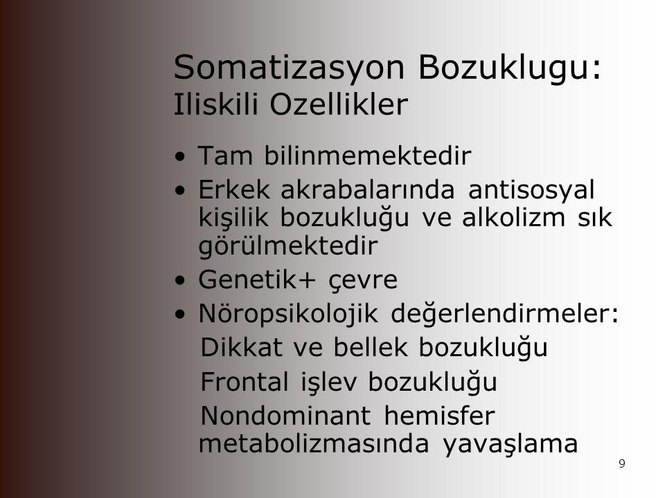 Somatizasyon Bozuklugu: Iliskili Ozellikler En önemli özelliği fiziksel nedenlerle açıklanamayan, sık sık yineleyen, çoğul fiziksel yakınmalardır Somatoform bozuklukların en yaygın olarak görülen grubudur.