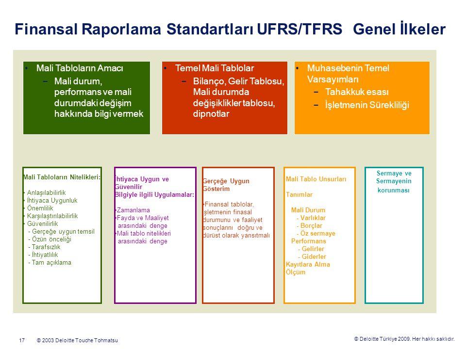 © Deloitte Türkiye 2009. Her hakkı saklıdır. © 2003 Deloitte Touche Tohmatsu17 Finansal Raporlama Standartları UFRS/TFRS Genel İlkeler Temel Mali Tabl