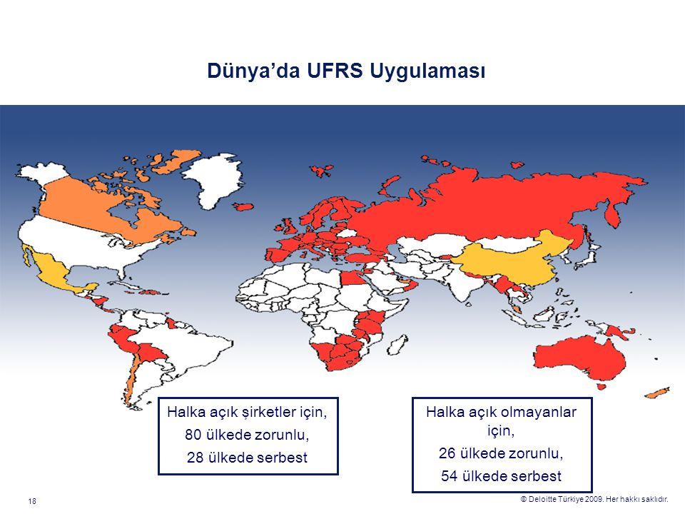 © Deloitte Türkiye 2009. Her hakkı saklıdır. 18 Dünya'da UFRS Uygulaması Halka açık şirketler için, 80 ülkede zorunlu, 28 ülkede serbest Halka açık ol