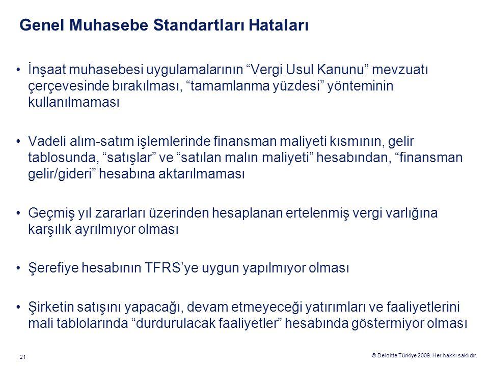 """© Deloitte Türkiye 2009. Her hakkı saklıdır. 21 Genel Muhasebe Standartları Hataları İnşaat muhasebesi uygulamalarının """"Vergi Usul Kanunu"""" mevzuatı çe"""