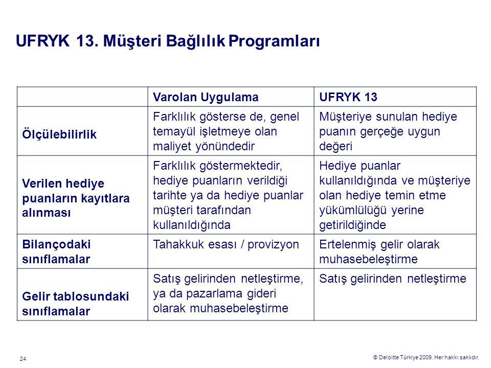 © Deloitte Türkiye 2009. Her hakkı saklıdır. 24 Varolan UygulamaUFRYK 13 Ölçülebilirlik Farklılık gösterse de, genel temayül işletmeye olan maliyet yö