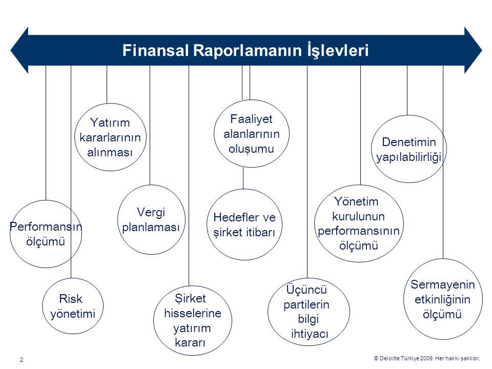 © Deloitte Türkiye 2009. Her hakkı saklıdır. 2 Yatırım kararlarının alınması Faaliyet alanlarının oluşumu Performansın ölçümü Vergi planlaması Hedefle