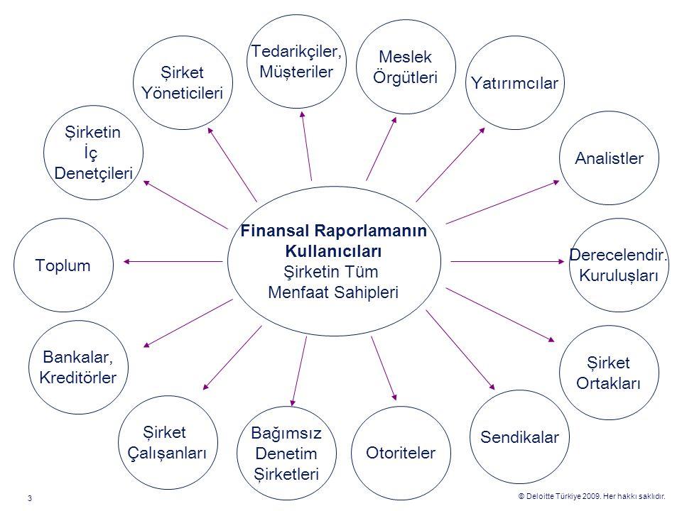 © Deloitte Türkiye 2009. Her hakkı saklıdır. 3 Şirketin İç Denetçileri Toplum Tedarikçiler, Müşteriler Bankalar, Kreditörler Şirket Yöneticileri Sendi