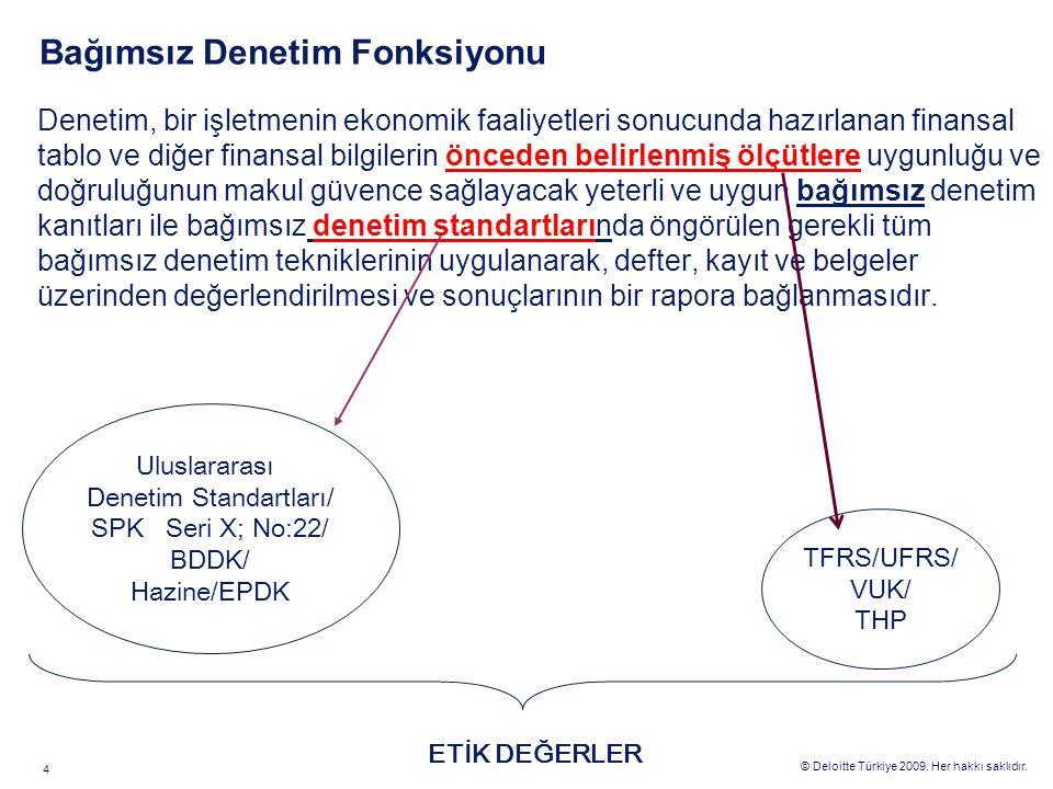 © Deloitte Türkiye 2009. Her hakkı saklıdır. 4 Bağımsız Denetim Fonksiyonu Denetim, bir işletmenin ekonomik faaliyetleri sonucunda hazırlanan finansal