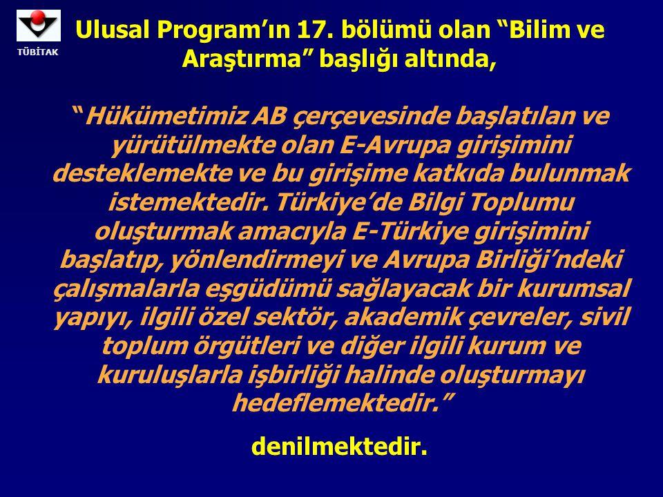 TÜBİTAK Ulusal Program'ın 17.