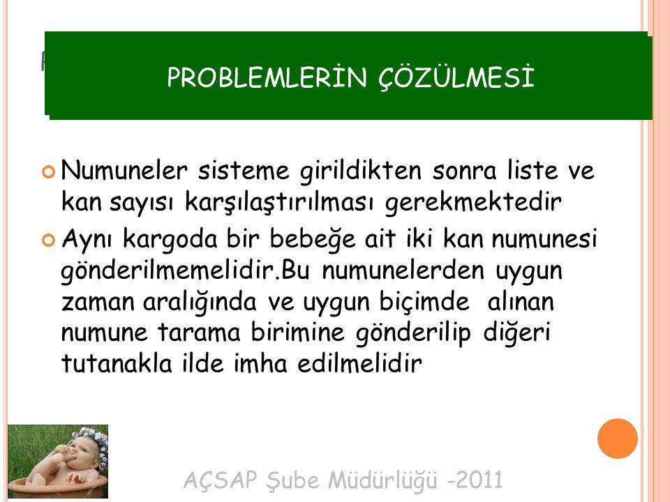 AÇSAP Şube Müdürlüğü -2011 PROBLEMLERİN ÇÖZÜLMESİ Numuneler sisteme girildikten sonra liste ve kan sayısı karşılaştırılması gerekmektedir Aynı kargoda