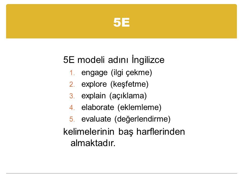 5E 5E modeli adını İngilizce 1.engage (ilgi çekme) 2.