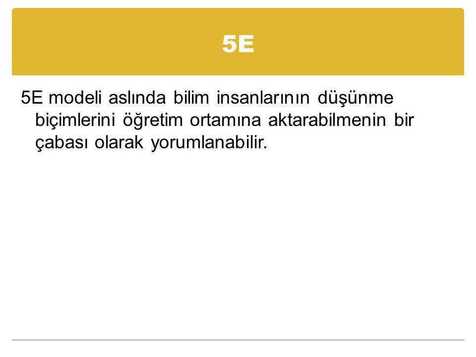 5E 5E modeli aslında bilim insanlarının düşünme biçimlerini öğretim ortamına aktarabilmenin bir çabası olarak yorumlanabilir.
