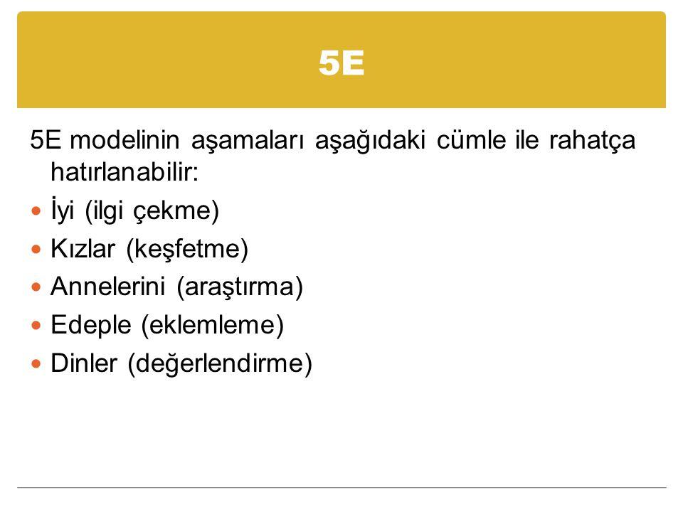 5E 5E modelinin aşamaları aşağıdaki cümle ile rahatça hatırlanabilir: İyi (ilgi çekme) Kızlar (keşfetme) Annelerini (araştırma) Edeple (eklemleme) Dinler (değerlendirme)