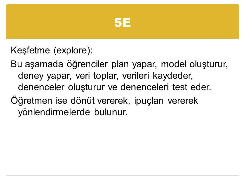 5E Açıklama (explain): Bu aşama keşfedilen bilginin tartışılması, açıklanması, ilke ve genellemelere ulaşılması aşamasıdır.