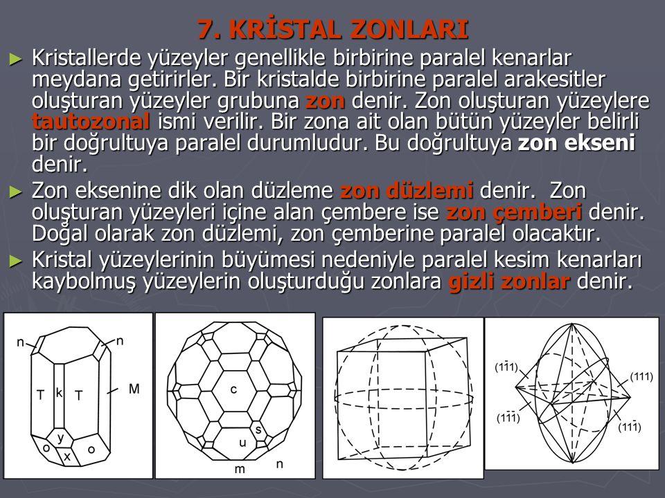 7. KRİSTAL ZONLARI ► Kristallerde yüzeyler genellikle birbirine paralel kenarlar meydana getirirler. Bir kristalde birbirine paralel arakesitler oluşt