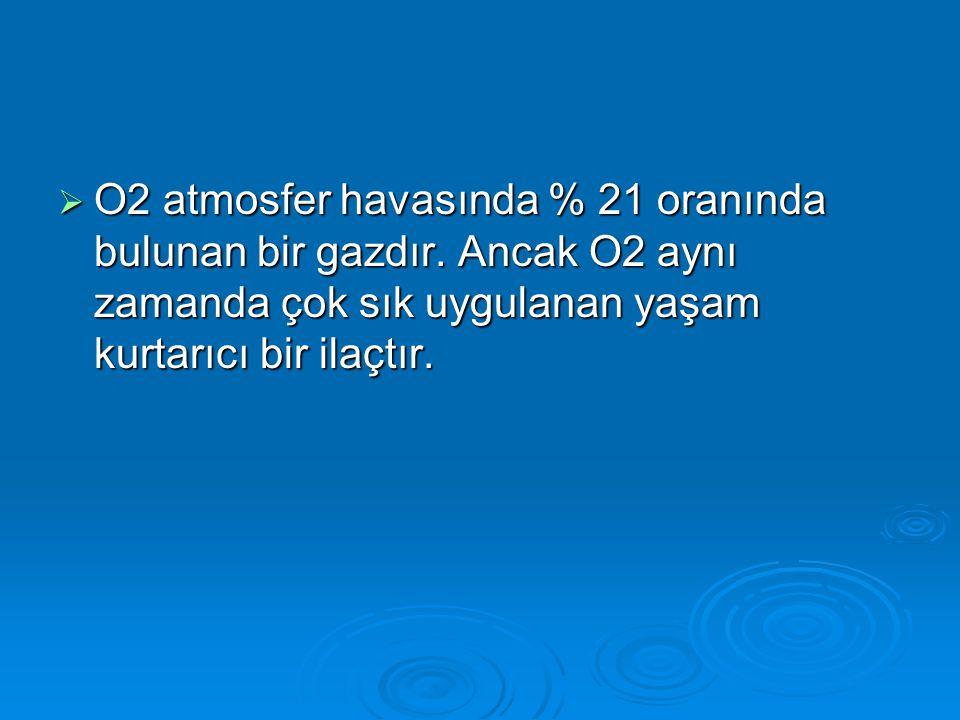  O2 atmosfer havasında % 21 oranında bulunan bir gazdır. Ancak O2 aynı zamanda çok sık uygulanan yaşam kurtarıcı bir ilaçtır.