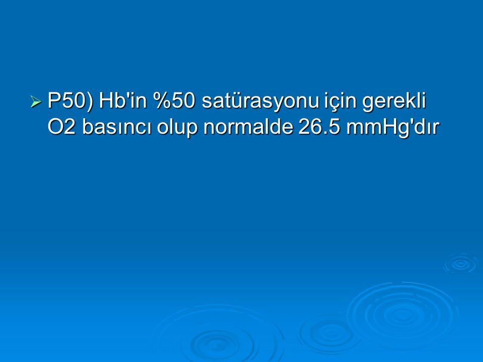  P50) Hb'in %50 satürasyonu için gerekli O2 basıncı olup normalde 26.5 mmHg'dır