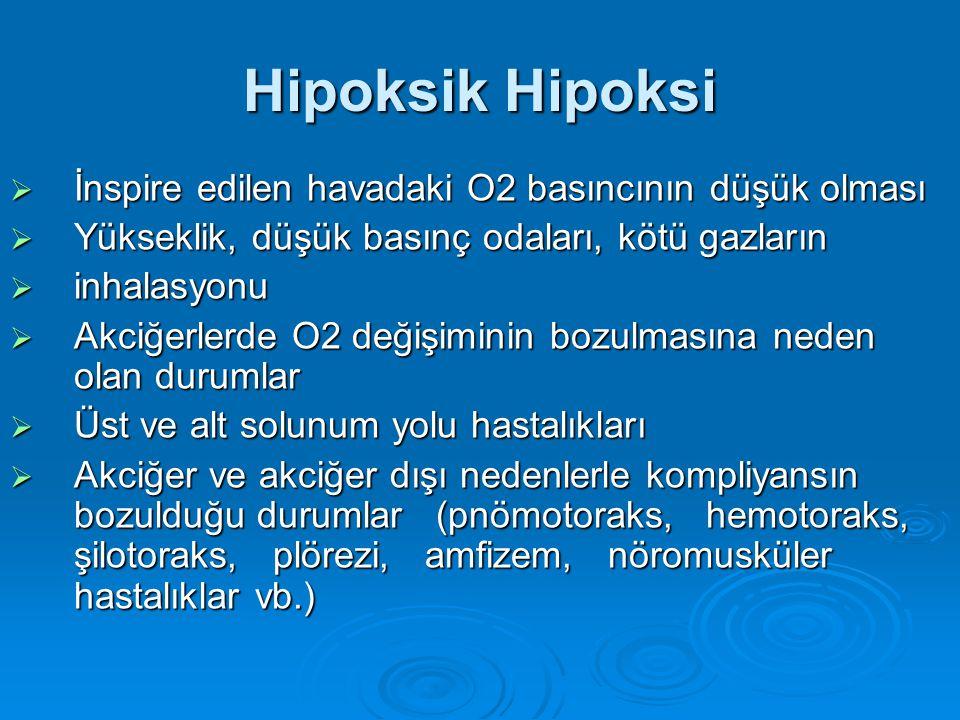 Hipoksik Hipoksi  İnspire edilen havadaki O2 basıncının düşük olması  Yükseklik, düşük basınç odaları, kötü gazların  inhalasyonu  Akciğerlerde O2