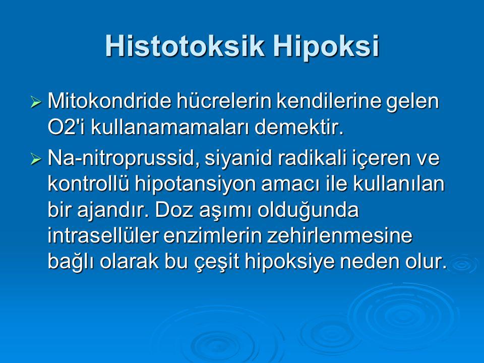 Histotoksik Hipoksi  Mitokondride hücrelerin kendilerine gelen O2'i kullanamamaları demektir.  Na-nitroprussid, siyanid radikali içeren ve kontrollü