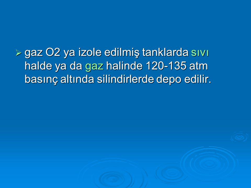  FiO2 0.8, 48 st ten sonra toksiktir. Acil durumlarda %100 O2 6 saat güvenle kullanılabilir.