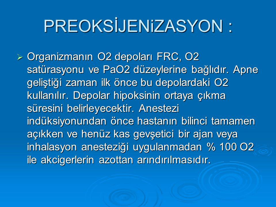 PREOKSİJENiZASYON :  Organizmanın O2 depoları FRC, O2 satürasyonu ve PaO2 düzeylerine bağlıdır. Apne geliştiği zaman ilk önce bu depolardaki O2 kulla
