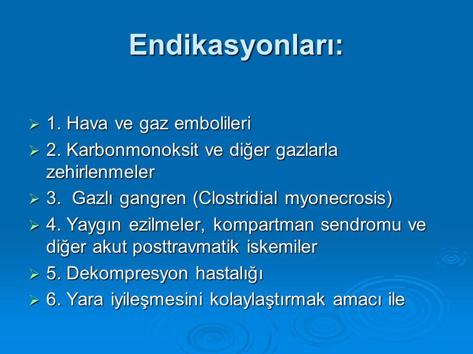 Endikasyonları:  1. Hava ve gaz embolileri  2. Karbonmonoksit ve diğer gazlarla zehirlenmeler  3. Gazlı gangren (Clostridial myonecrosis)  4. Yayg
