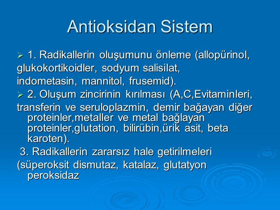 Antioksidan Sistem  1. Radikallerin oluşumunu önleme (allopürinol, glukokortikoidler, sodyum salisilat, indometasin, mannitol, frusemid).  2. Oluşum