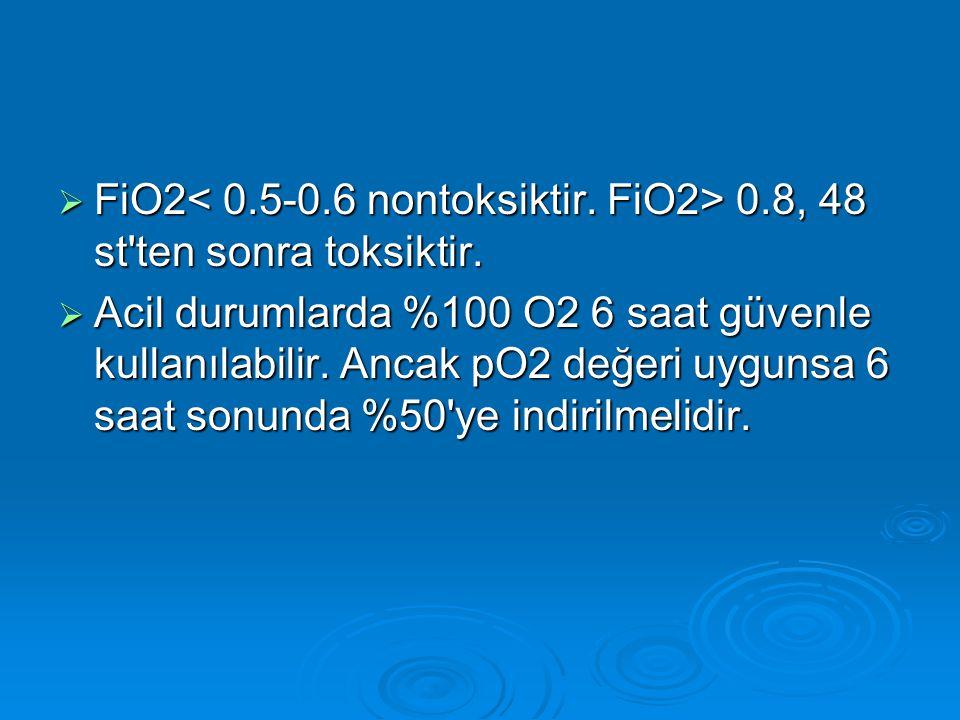  FiO2 0.8, 48 st'ten sonra toksiktir.  Acil durumlarda %100 O2 6 saat güvenle kullanılabilir. Ancak pO2 değeri uygunsa 6 saat sonunda %50'ye indiril