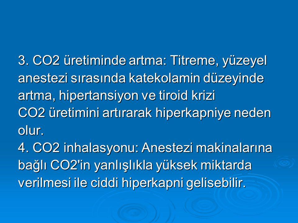 3. CO2 üretiminde artma: Titreme, yüzeyel anestezi sırasında katekolamin düzeyinde artma, hipertansiyon ve tiroid krizi CO2 üretimini artırarak hiperk