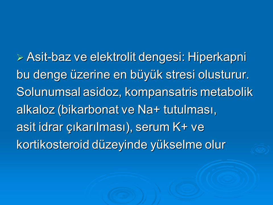  Asit-baz ve elektrolit dengesi: Hiperkapni bu denge üzerine en büyük stresi olusturur. Solunumsal asidoz, kompansatris metabolik alkaloz (bikarbonat