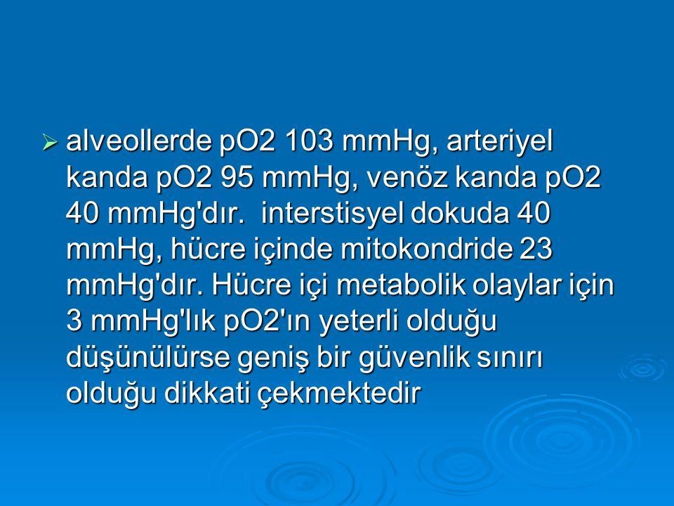  alveollerde pO2 103 mmHg, arteriyel kanda pO2 95 mmHg, venöz kanda pO2 40 mmHg'dır. interstisyel dokuda 40 mmHg, hücre içinde mitokondride 23 mmHg'd