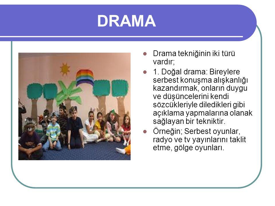 DRAMA Drama tekniğinin iki türü vardır; 1. Doğal drama: Bireylere serbest konuşma alışkanlığı kazandırmak, onların duygu ve düşüncelerini kendi sözcük