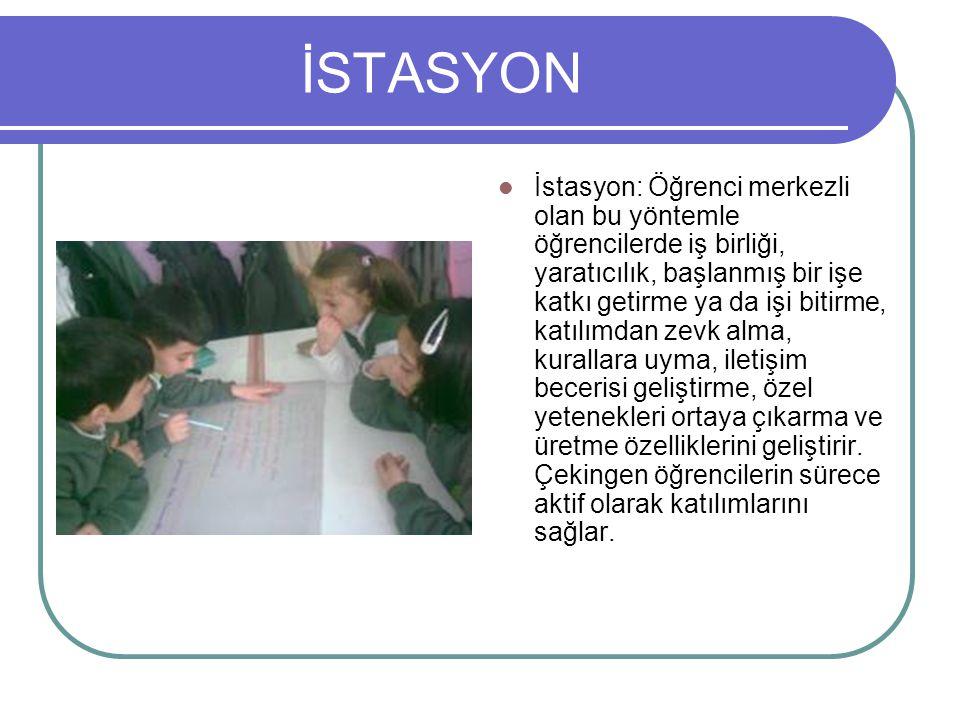 İSTASYON İstasyon: Öğrenci merkezli olan bu yöntemle öğrencilerde iş birliği, yaratıcılık, başlanmış bir işe katkı getirme ya da işi bitirme, katılımd