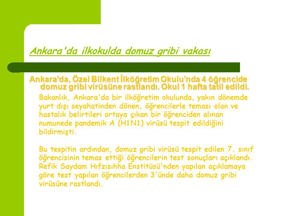 Ankara'da ilkokulda domuz gribi vakası Ankara'da, Özel Bilkent İlköğretim Okulu'nda 4 öğrencide domuz gribi virüsüne rastlandı. Okul 1 hafta tatil edi