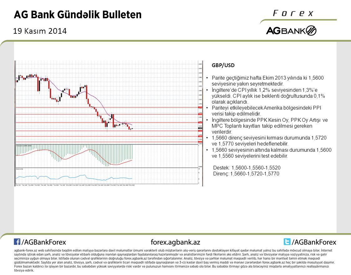 19 Kasım 2014 GBP/USD Parite geçtiğimiz hafta Ekim 2013 yılında ki 1,5600 seviyesine yakın seyretmektedir. İngiltere'de CPI yıllık 1,2% seviyesinden 1