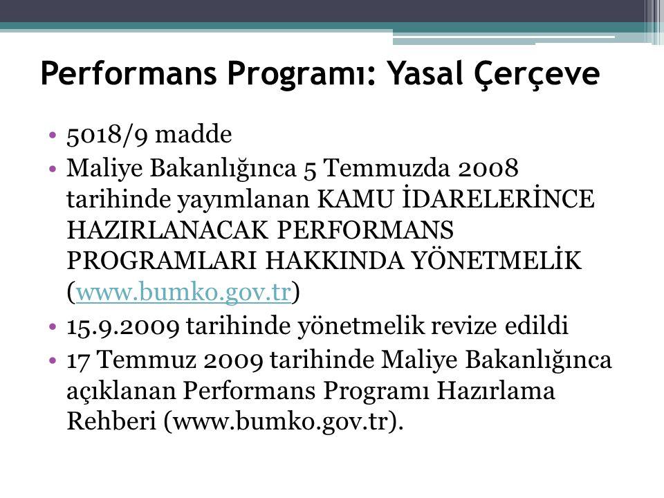 Performans Programı: Yasal Çerçeve 5018/9 madde Maliye Bakanlığınca 5 Temmuzda 2008 tarihinde yayımlanan KAMU İDARELERİNCE HAZIRLANACAK PERFORMANS PROGRAMLARI HAKKINDA YÖNETMELİK (www.bumko.gov.tr)www.bumko.gov.tr 15.9.2009 tarihinde yönetmelik revize edildi 17 Temmuz 2009 tarihinde Maliye Bakanlığınca açıklanan Performans Programı Hazırlama Rehberi (www.bumko.gov.tr).