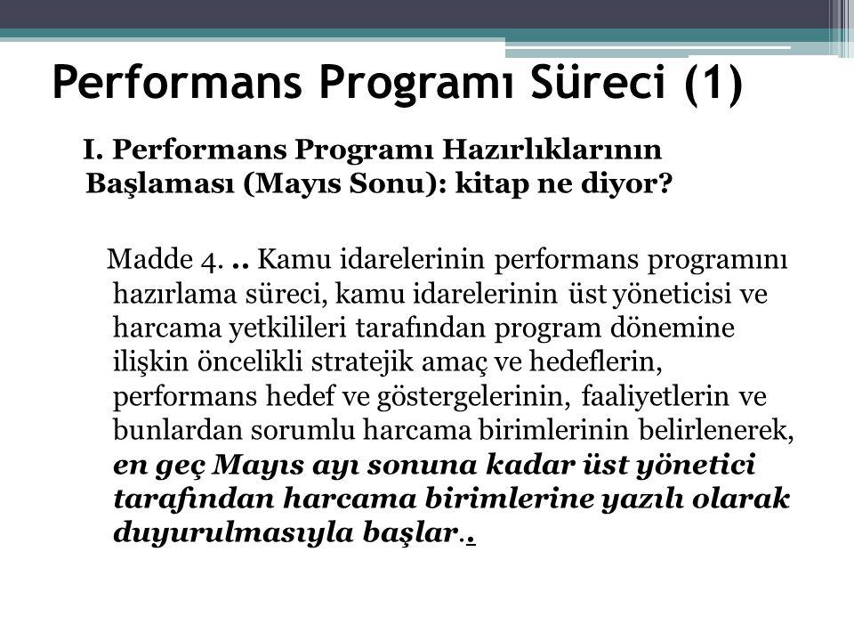 Performans Programı Süreci (1) I.