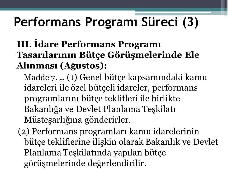 Performans Programı Süreci (3) III.