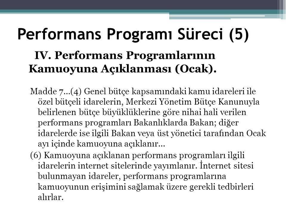 Performans Programı Süreci (5) IV. Performans Programlarının Kamuoyuna Açıklanması (Ocak).