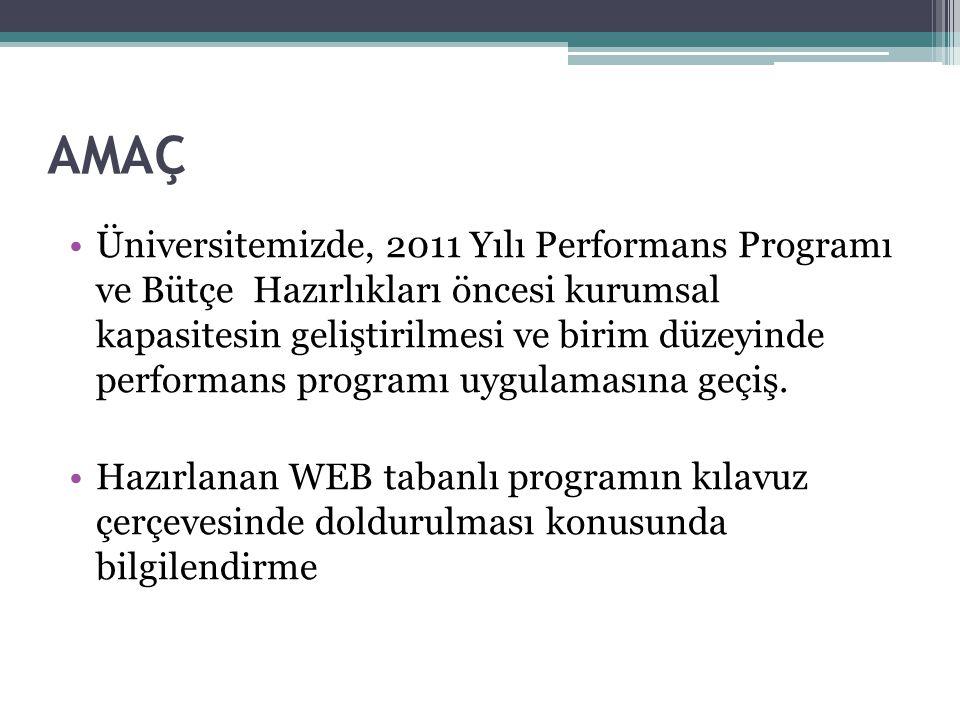 AMAÇ Üniversitemizde, 2011 Yılı Performans Programı ve Bütçe Hazırlıkları öncesi kurumsal kapasitesin geliştirilmesi ve birim düzeyinde performans programı uygulamasına geçiş.