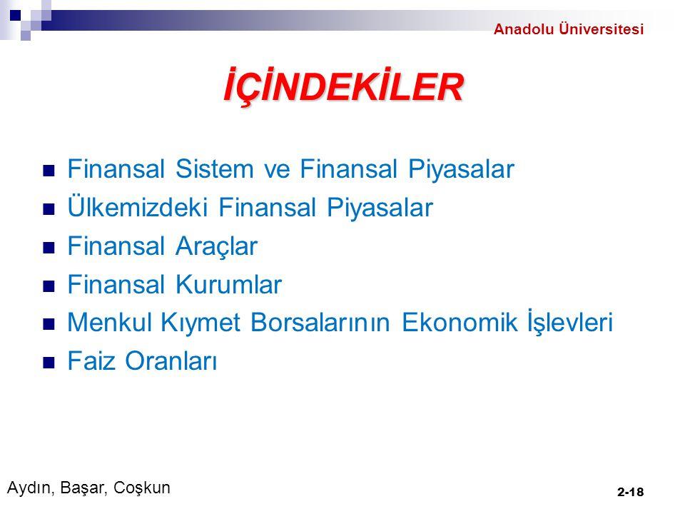 İÇİNDEKİLER Finansal Sistem ve Finansal Piyasalar Ülkemizdeki Finansal Piyasalar Finansal Araçlar Finansal Kurumlar Menkul Kıymet Borsalarının Ekonomik İşlevleri Faiz Oranları 2-18 Aydın, Başar, Coşkun Anadolu Üniversitesi