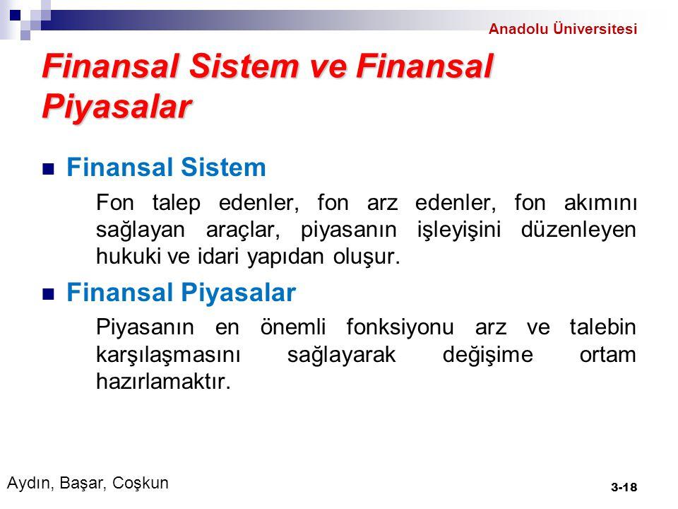 Finansal Araçlar Finansal araçların başlıca özellikleri: Paraya çevrilebilirlik Bölünebilirlik Geri dönülebilirlik Getiri Vade Riskin tahmin edilebilirliği 14-18 Aydın, Başar, Coşkun Anadolu Üniversitesi