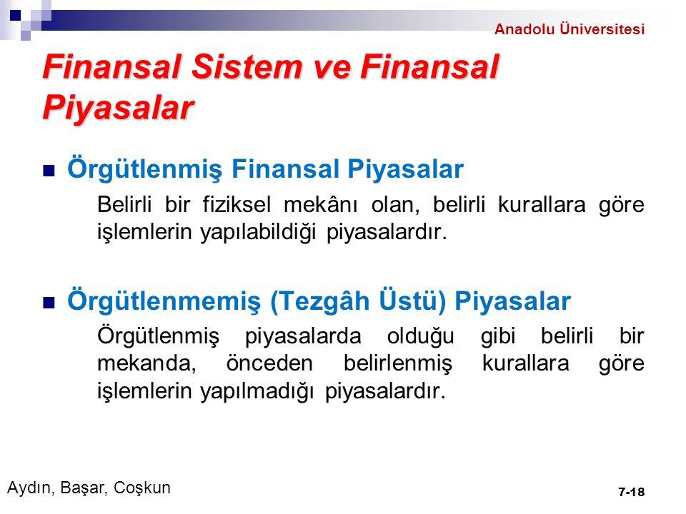 Finansal Sistem ve Finansal Piyasalar Örgütlenmiş Finansal Piyasalar Belirli bir fiziksel mekânı olan, belirli kurallara göre işlemlerin yapılabildiği piyasalardır.