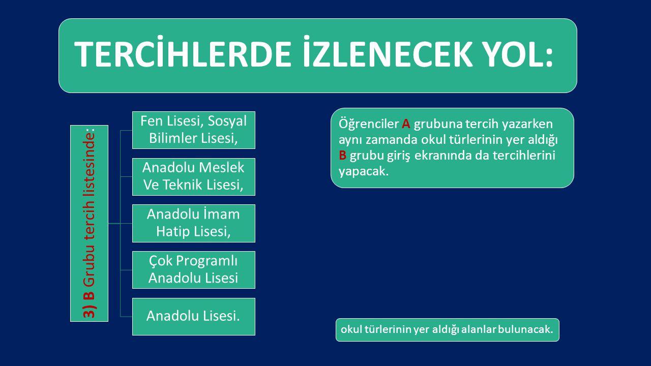 TERCİHLERDE İZLENECEK YOL: 3) B Grubu tercih listesinde: Fen Lisesi, Sosyal Bilimler Lisesi, Anadolu Meslek Ve Teknik Lisesi, Anadolu İmam Hatip Lises