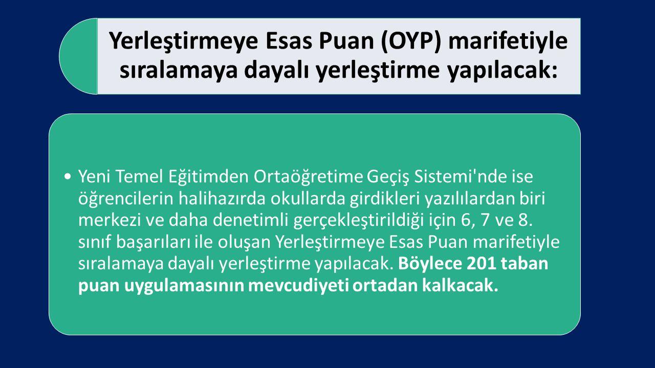 Yerleştirmeye Esas Puan (OYP) marifetiyle sıralamaya dayalı yerleştirme yapılacak: Yeni Temel Eğitimden Ortaöğretime Geçiş Sistemi'nde ise öğrencileri