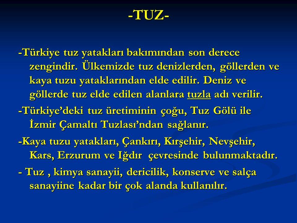 -TUZ- -Türkiye tuz yatakları bakımından son derece zengindir.