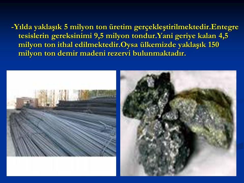 -Yılda yaklaşık 5 milyon ton üretim gerçekleştirilmektedir.Entegre tesislerin gereksinimi 9,5 milyon tondur.Yani geriye kalan 4,5 milyon ton ithal edilmektedir.Oysa ülkemizde yaklaşık 150 milyon ton demir madeni rezervi bulunmaktadır.
